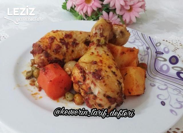Fırın Torbasında Yumuşacık Sebzeli Tavuk Baget