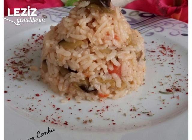 Patlıcanlı Domatesli Pirinç Pilavı