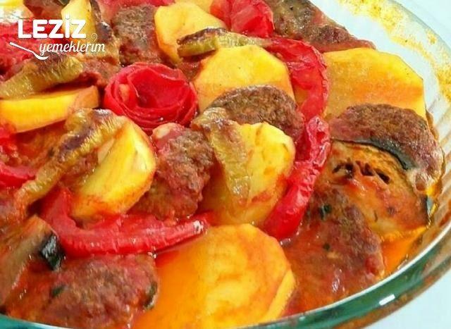 Fırında Patatesli Patlıcanlı Dizme