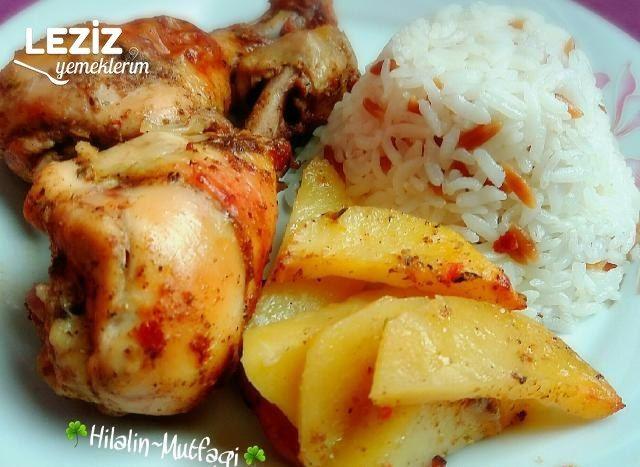 Fırın Poşetinde Nar Gibi Kızarmış Tavuk Ve Patates