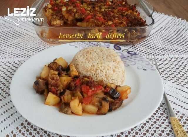 Fırında Patlıcanlı Patatesli Oturtma (Kızartmadan)