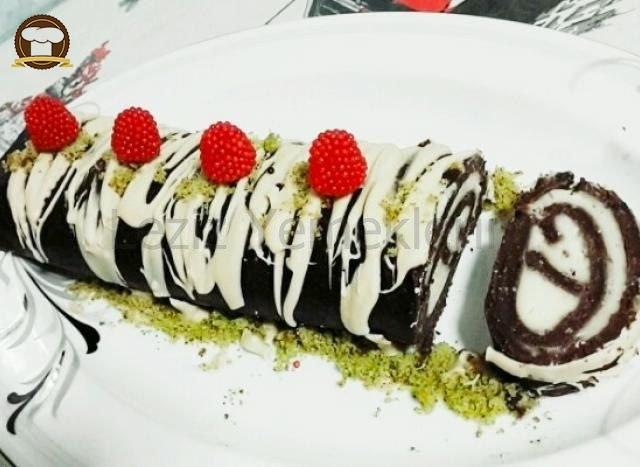 Muzlu Pudingli Bisküvili Rulo Pasta