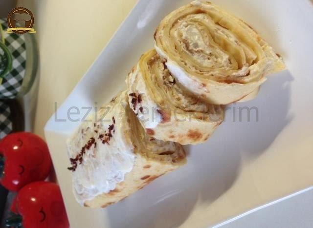Kahvaltılık Labneli Tuzlu Rulo Krep Pasta