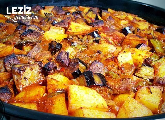 Fırında Nefis Kuşbaşılı Patates Ve Patlıcan Yemeği (Kızartarak)
