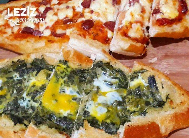 Normal Ekmekten Çok Pratik Hem Sucuklu Pizza, Hem De Ispanaklı Pide